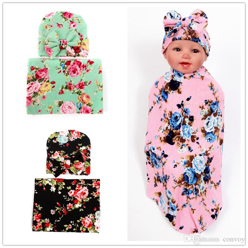 Ins Newborn Baby Swaddle Wrap Blanket Hat Set Infant Flower Floral