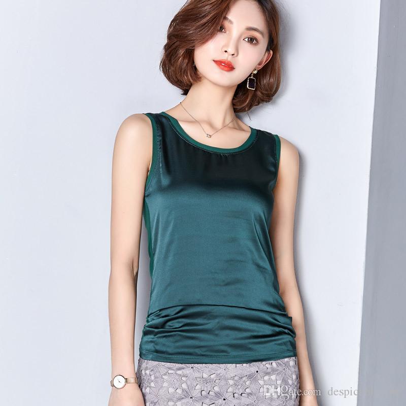 2c73cf8549fee7 2017 Summer Silk Crop Top Vest Camisole Soie Gilet Women Pajamas ...