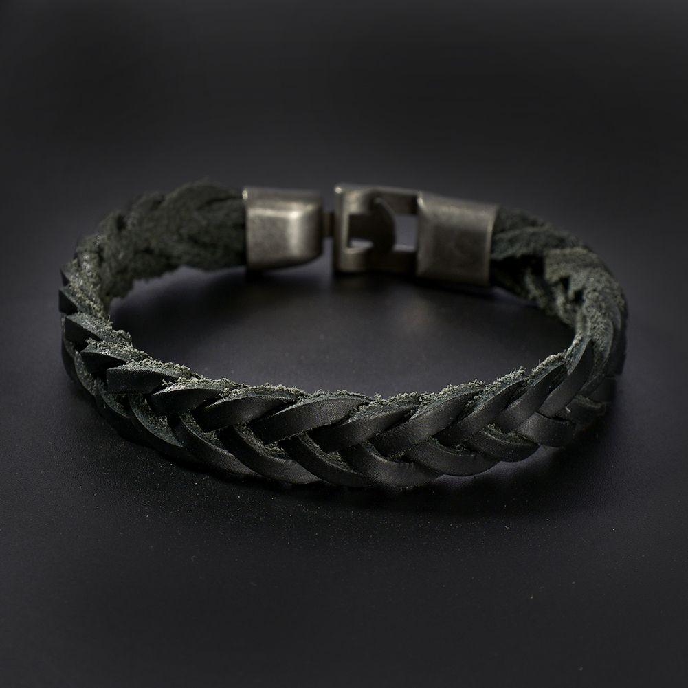 Men Women Vintage Black Coffee Braided Leather Bracelet Surfer Cuff