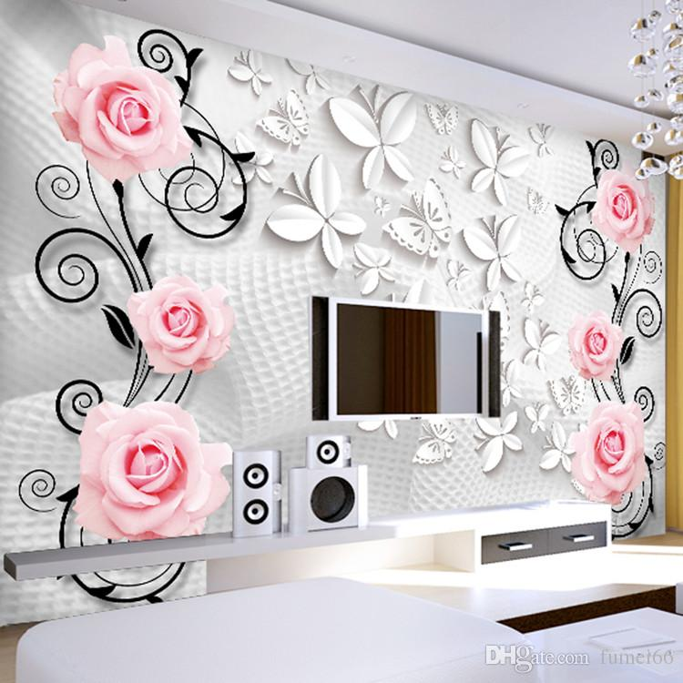 3D stereo large mural sofa living room bedroom TV background wall paper  pink roses butterfly personality mural