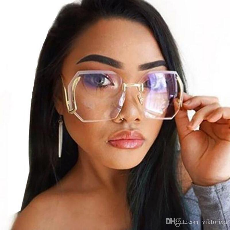 Großhandel Neue Übergroße Frauen Sonnenbrille Randlose Modemarke ...