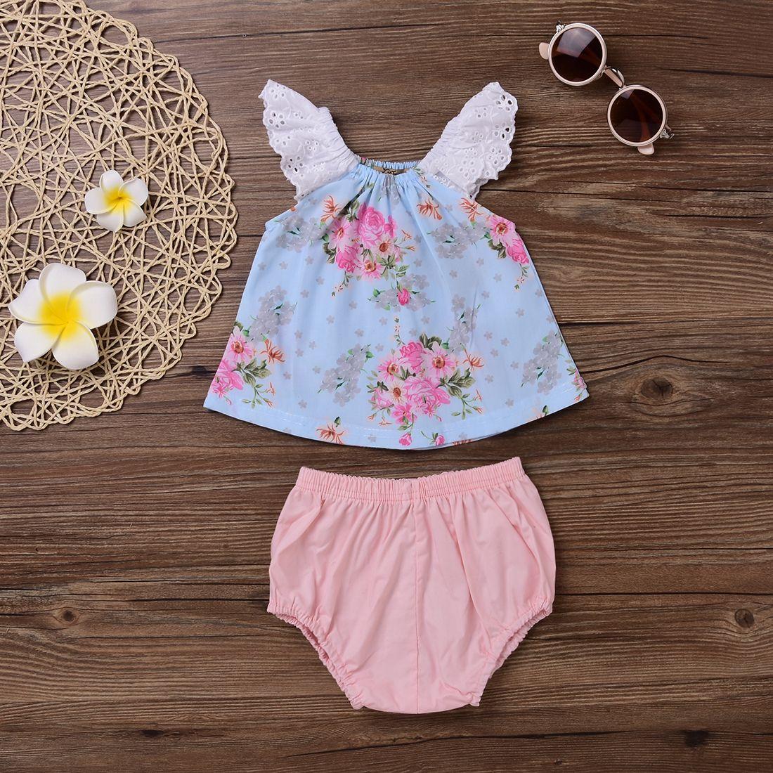 2017 Newest Set Princess Baby Girl Cute Clothes Summer Print Flower Skirt Tops Vest Pink Pants Infant Suit Girls Cotton Christmas Toddler