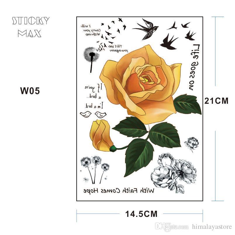 W05 Tatouage à manches longues rose jaune avec pissenlit, hirondelle, la vie va sur citation, pivoine Design