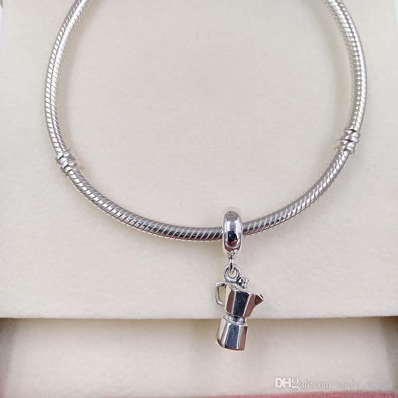 Authentische 925 Sterling Silber Perlen Espresso Can-Silber-Charme-Anhänger Passend Europäische Pandora Style Schmuck Armbänder Halskette 791514 baumeln lassen