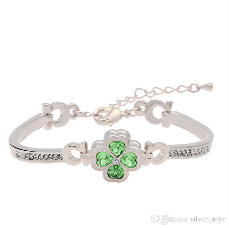 Braccialetto di cristallo di FB511 dei nuovi di Four Seasons of Love Clover Petals Braccialetto di ordine 20 pezzi molto Slap Snap Bracelets