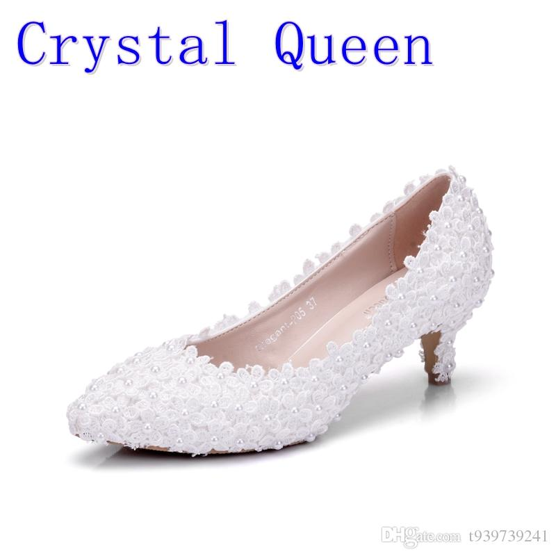 Crystal Queen Lace Flower Pearl Wedding Shoes White Shallow Mouth ... 6b88047188bb