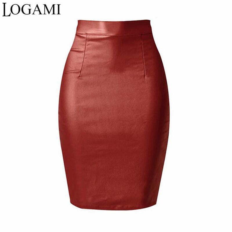2017 Logami Leather Faux Pencil Skirt Ladies Sexy Midi Skirt ...