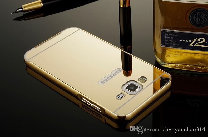 For J5 J7 Shell Royal Plating Gilded Metal Aluminum+Mirror Acrylic Hard Case Cover For Samsung galaxy J5 J500/J7 J700