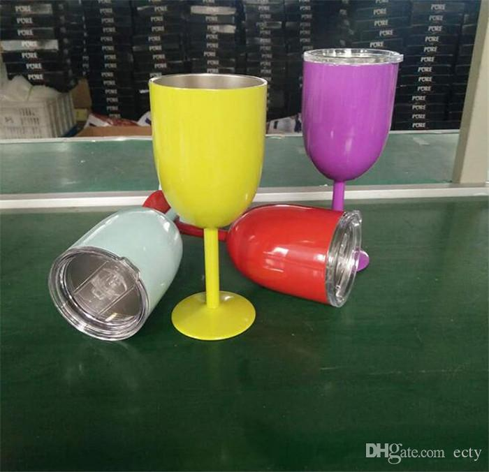 10oz Colorful Wine Glass Cup RTIC Style Stainless Steel Wine Glasses Tumbler DHL