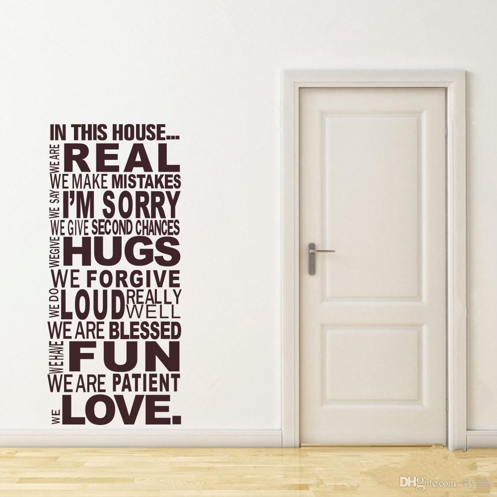 Large Size Family House Rules Quotes And Sayings Stickers Wall - Wall stickers art