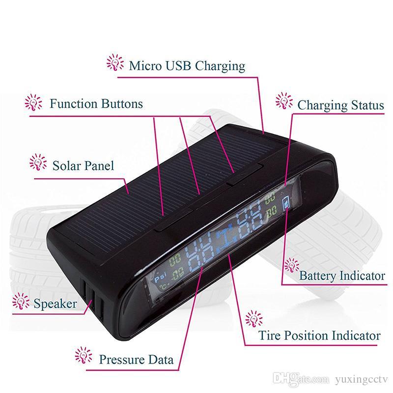 4 개의 내부 감지기를 가진 태양 힘 무선 LCD 전시 TPMS 새로운 차 타이어 압력 감시 인텔리전스 체계
