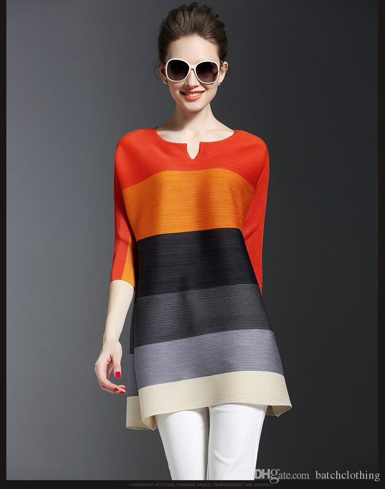 Ladies Dress Autumn And Winter Striped Casual Dress Long Sleeved ...