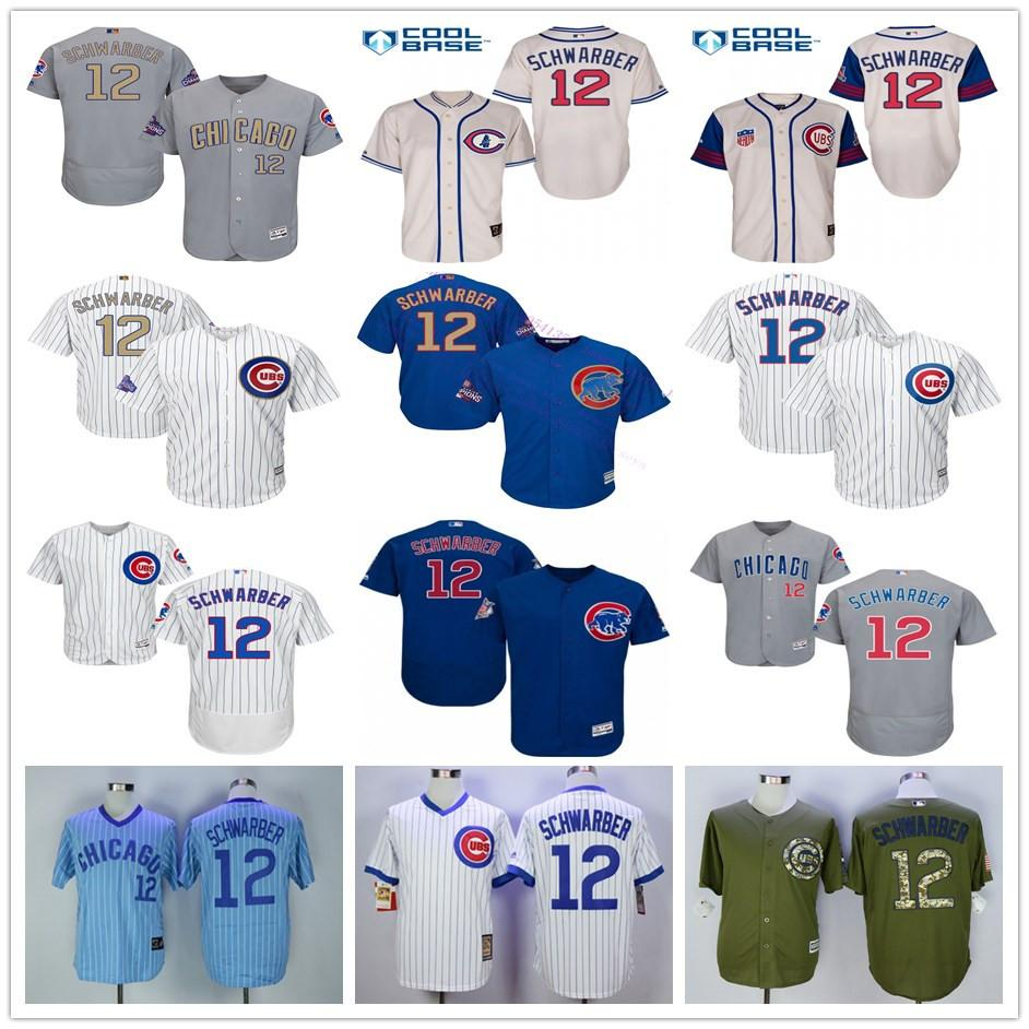 timeless design 9bf4f 24056 mlb cubs 12 kyle schwarber gray jersey chicago cubs jerseys ...