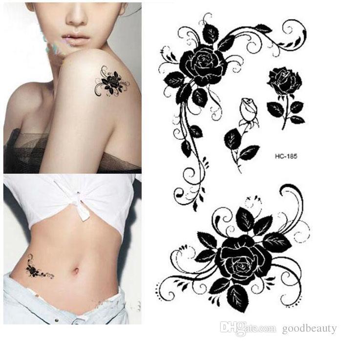 Mujeres Atractivas Del Dedo Flash Falso Tatuaje Pegatinas Negro