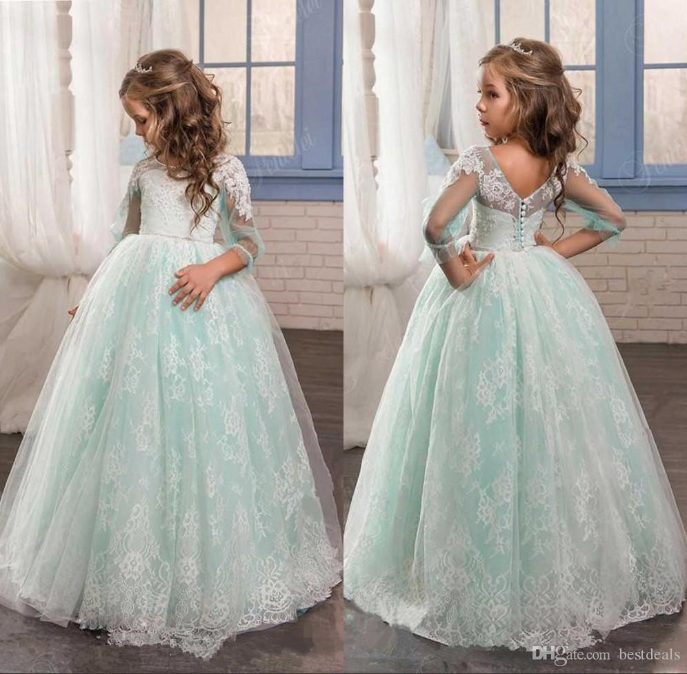 2017 Pretty Mint Green Tulle With Lace Flower Girl Dress Ball Gown