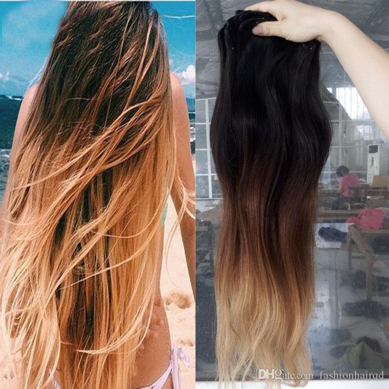 Long Ombre Clip In Remy Human Hair Extensions T1b 4 27 Three Tone