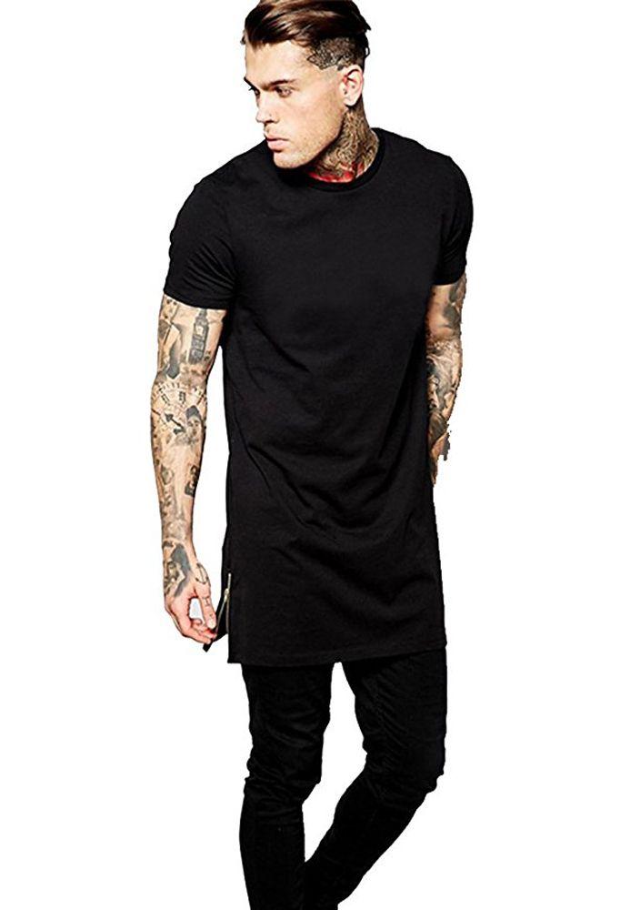 ad4c5d19a3d E BAIHUI Men Rock T Shirt Extended Length Longline T Shirt Summer Style Mens  Hip Hop T Shirt Streetwear Clothing Hight Quality Tee Casual Shirts T Shirts  ...