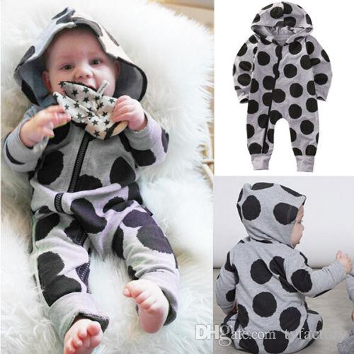 2017 Newborn Toddler Fashion Infant Baby Clothing Boys Girls Dot Romper Hooded Jumpsuit Bodysuit Hat Clothes Outfit