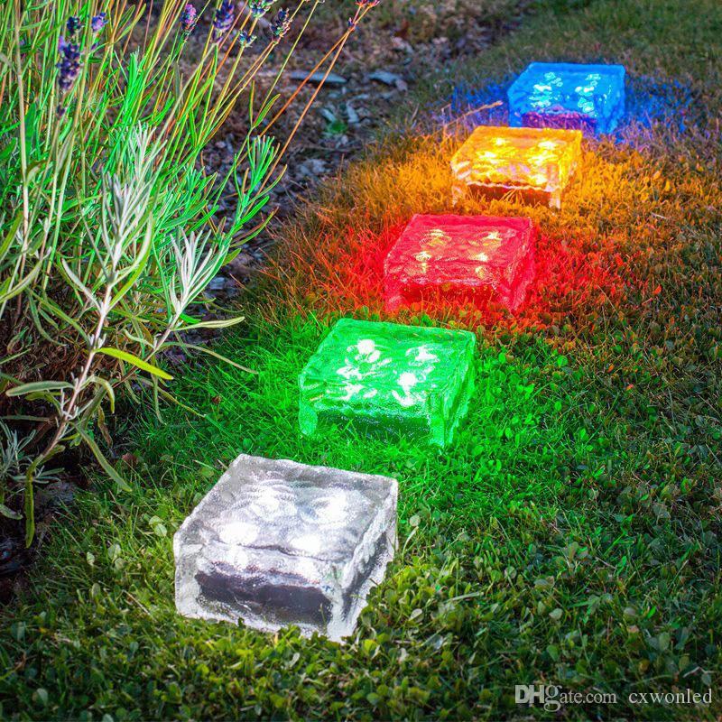 قاد حديقة الشمسية ضوء الآيس كريم زجاج شكل مربع أبيض، الحارة، الأزرق، اللون الأخضر للماء تحت الأرض في الحديقة مصباح