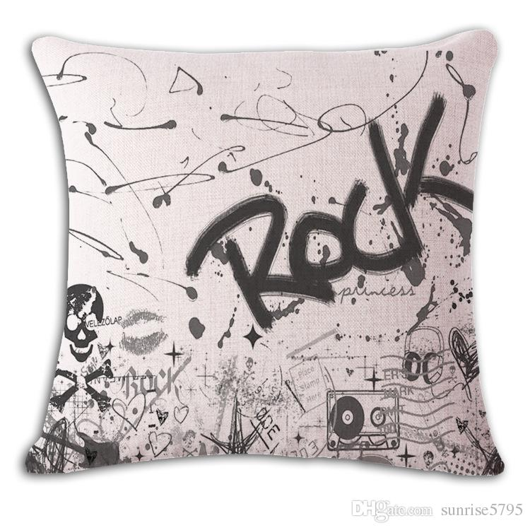 usa english letters cushion cover punk style sofa chaise throw pillow case rock and roll home office cojines shabby chic cojines