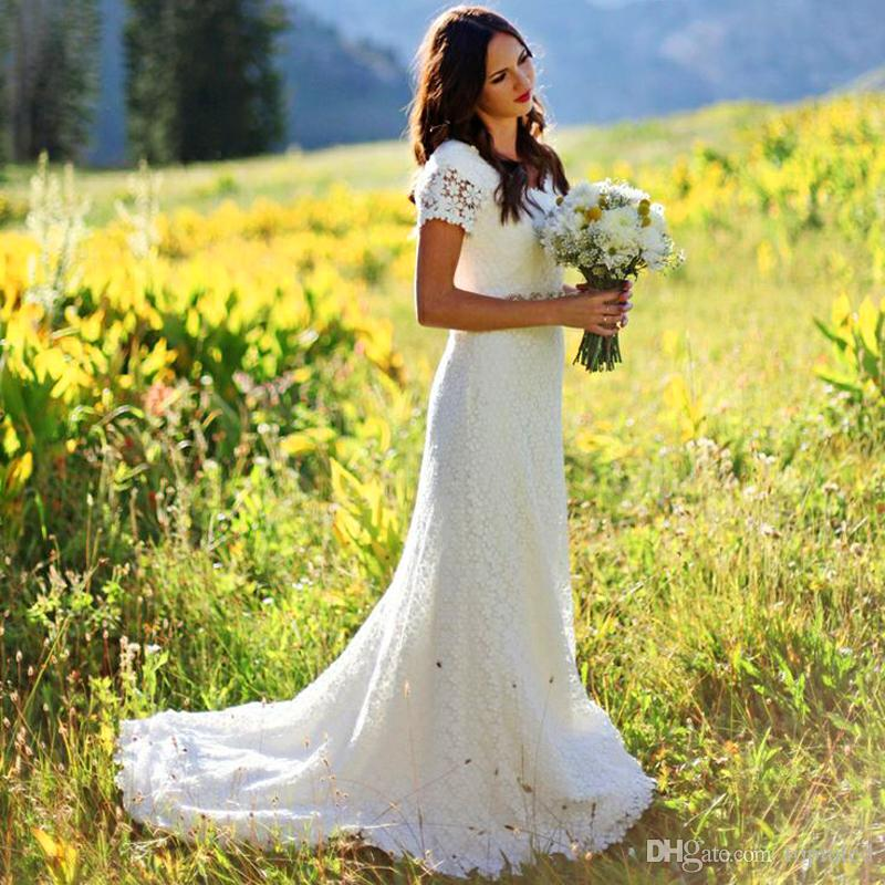 Country Western A Line Cheap Chiffon Bridal Gowns Beaded: 2017 Vintage Classic A Line Bridal Gowns With Short Sleeve