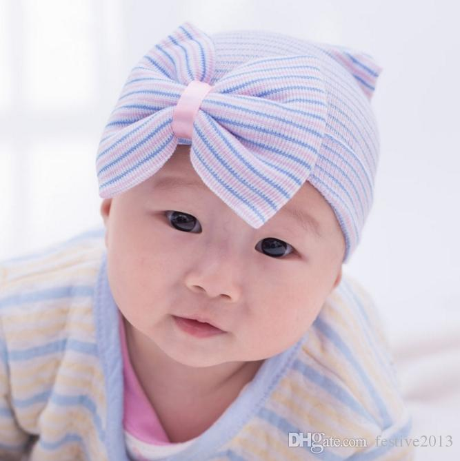 2017 Spring Autumn Baby Big Hair Bow Knitted Hats Soft Cotton Unisex Toddlers Hat For Newborn Babies Cute Stripe Infants Caps For 3-6 Mos