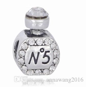 Serve Para Pulseira de Prata Esterlina de Cristal Garrafas de Perfume Beads Encantos Para Diy Estilo Europeu Cobra Charme Cadeia de Moda DIY Jóias Por Atacado