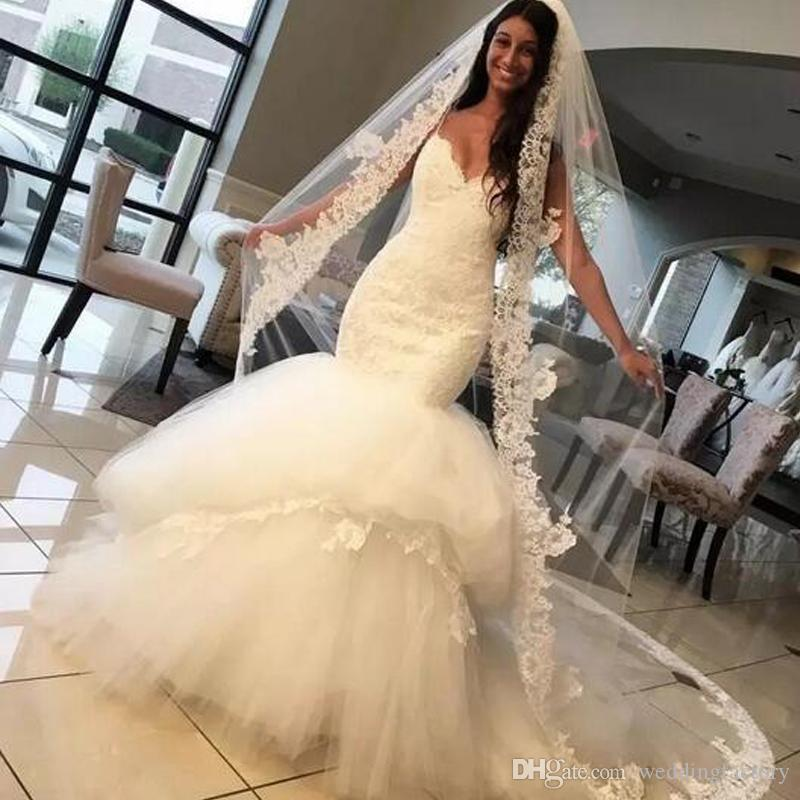 2017 Fit And Flare Backless Wedding Gowns Sweetheart Spaghetti ...
