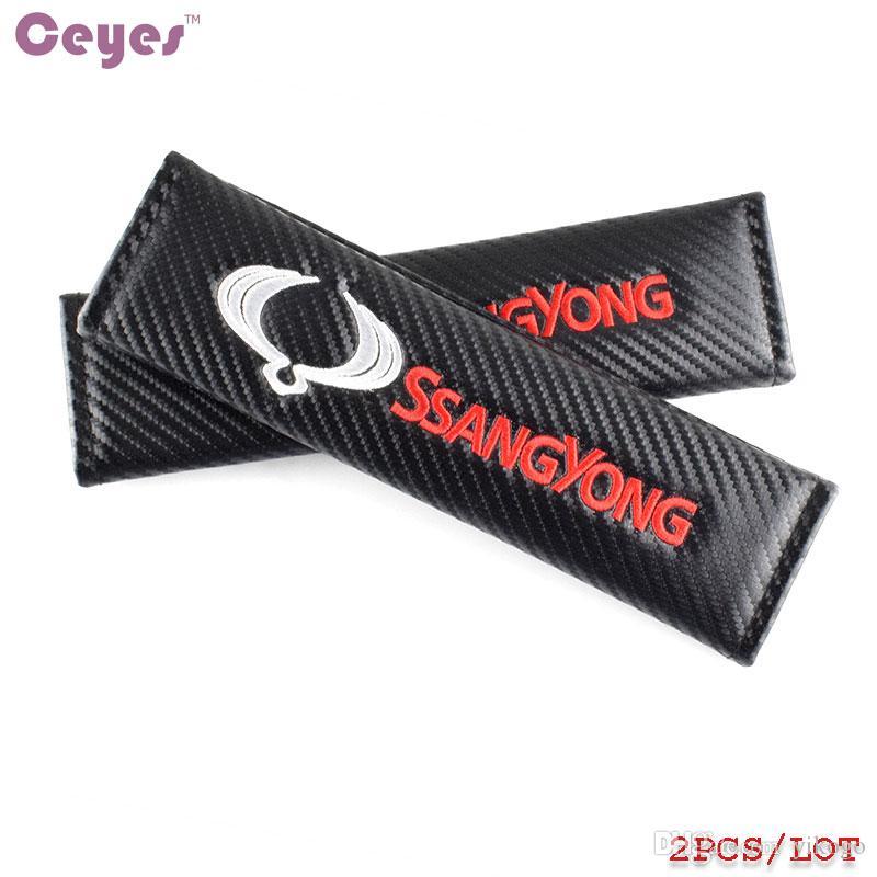 Accesorios del coche Cubierta de cinturón de seguridad de fibra de carbono automático para SsangYong kyron actyon sport rexton 2 korando Cubierta de cinturón de seguridad Car Styling /