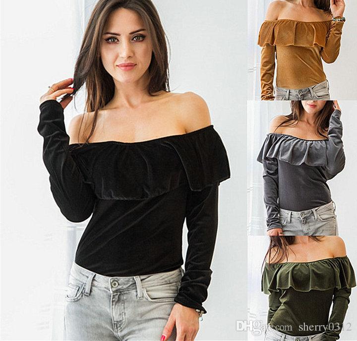 9aa40a9a138203 2019 2017 Women Velvet Off Shoulder T Shirt Women Long Sleeve Ruffles Tops  Slash Neck Polyester Long Sleeve Women Velour T Shit Blouse From  Sherry0312, ...