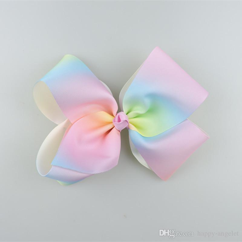 18cm Pastel flora ombre ribbon hair bows Alligator clips Rainbow Striped Dance Cheerleader Pageant hair bobbles Accessories HD3476