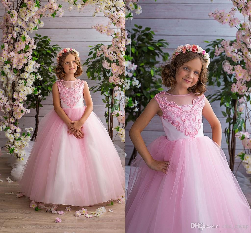 Pink Lace Beaded 2018 Arabic Flower Girl Dresses Ball Gown Tulle