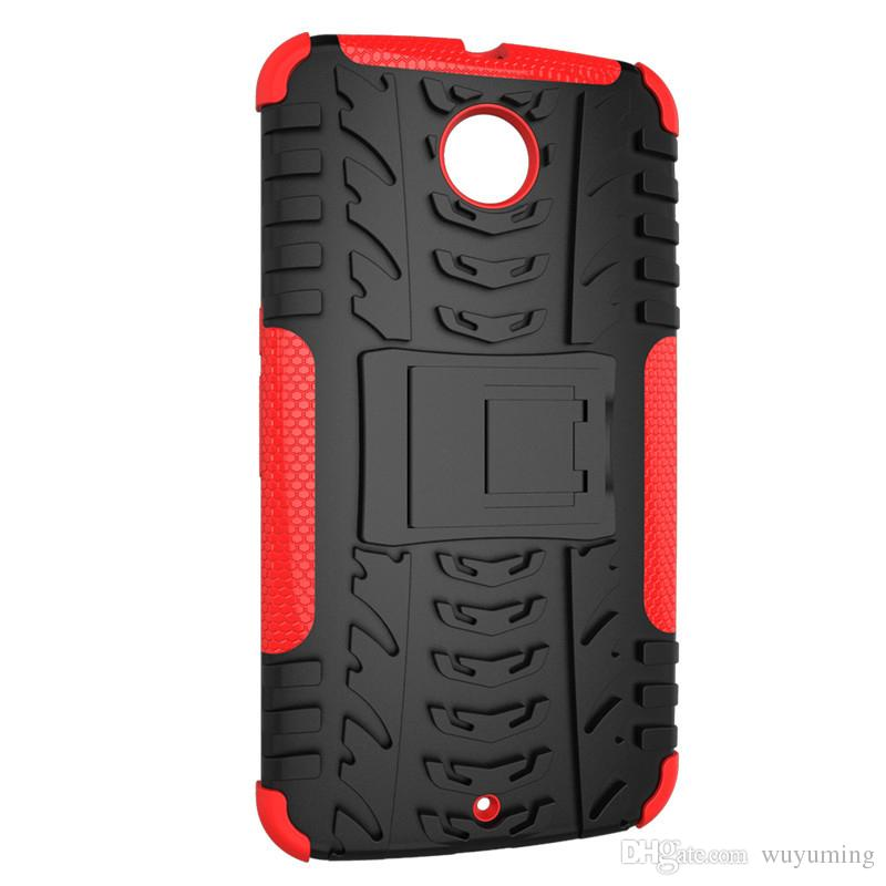 new product 2bdac 5b481 Hot Anti-Knock Phone Case For Motorola Nexus 6 Cover Silicon&Plastic Armor  Shockproof 2in1 Stand Back Protector Cell phone Case