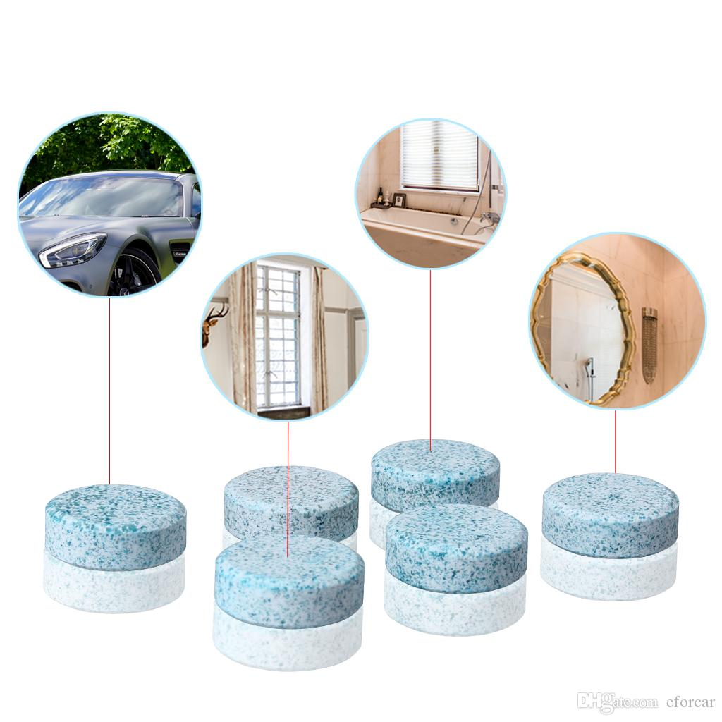6 Unids / lote Coche Parabrisas Compacto Arandela de Vidrio Limpiador Limpiador Tabletas Efervescentes Detergente Sólido Limpiaparabrisas Instantáneo Lavador de Parabrisas