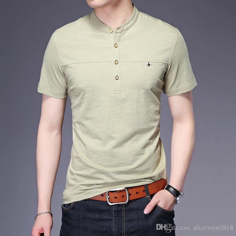 Marca 2017 Estate Button Design Stand colletto T-shirt Slim Fit Elasticità Cotone Uomo Slim Fit T-shirt Business T Shirt manica corta da uomo