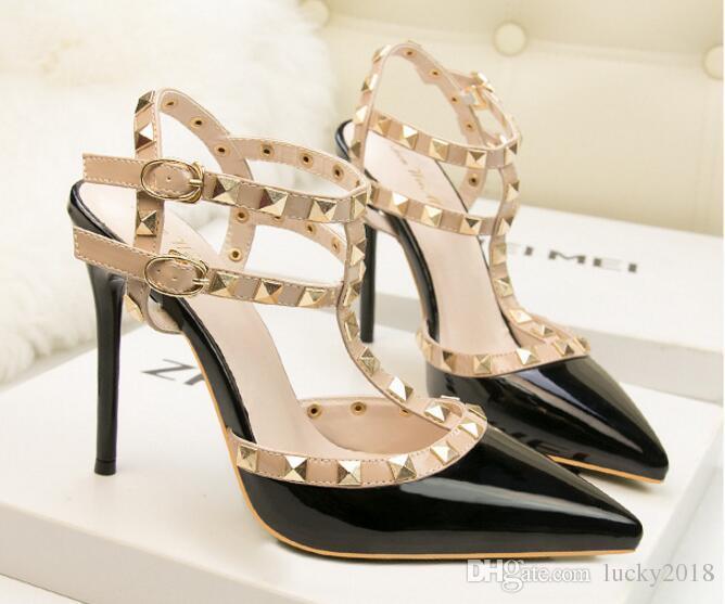 5a1b64ee Compre Nuevo 2017 Primavera Otoño Mujeres Bombas Sexy Negro Oro Plata  Tacones Altos 10 Cm Zapatos Inferiores Moda Lujo Rhinestone Zapatos De Boda  A $29.11 ...