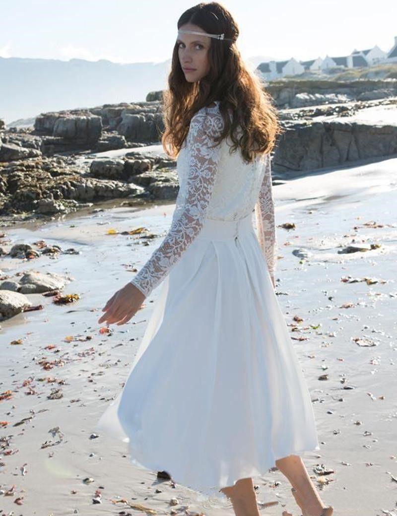 2017 Modern Tea Length Casual Beach Wedding Dress Long Sleeve High Neck Lace Chiffon Short Bridal Gowns Custom Made