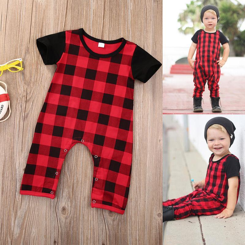 Nouveau-né vêtements de bébé à carreaux barboteuse costume bébé enfants vêtements de garçon tenue enfant tenue décontractée combinaison coton onesies Body infantile Kid Cos