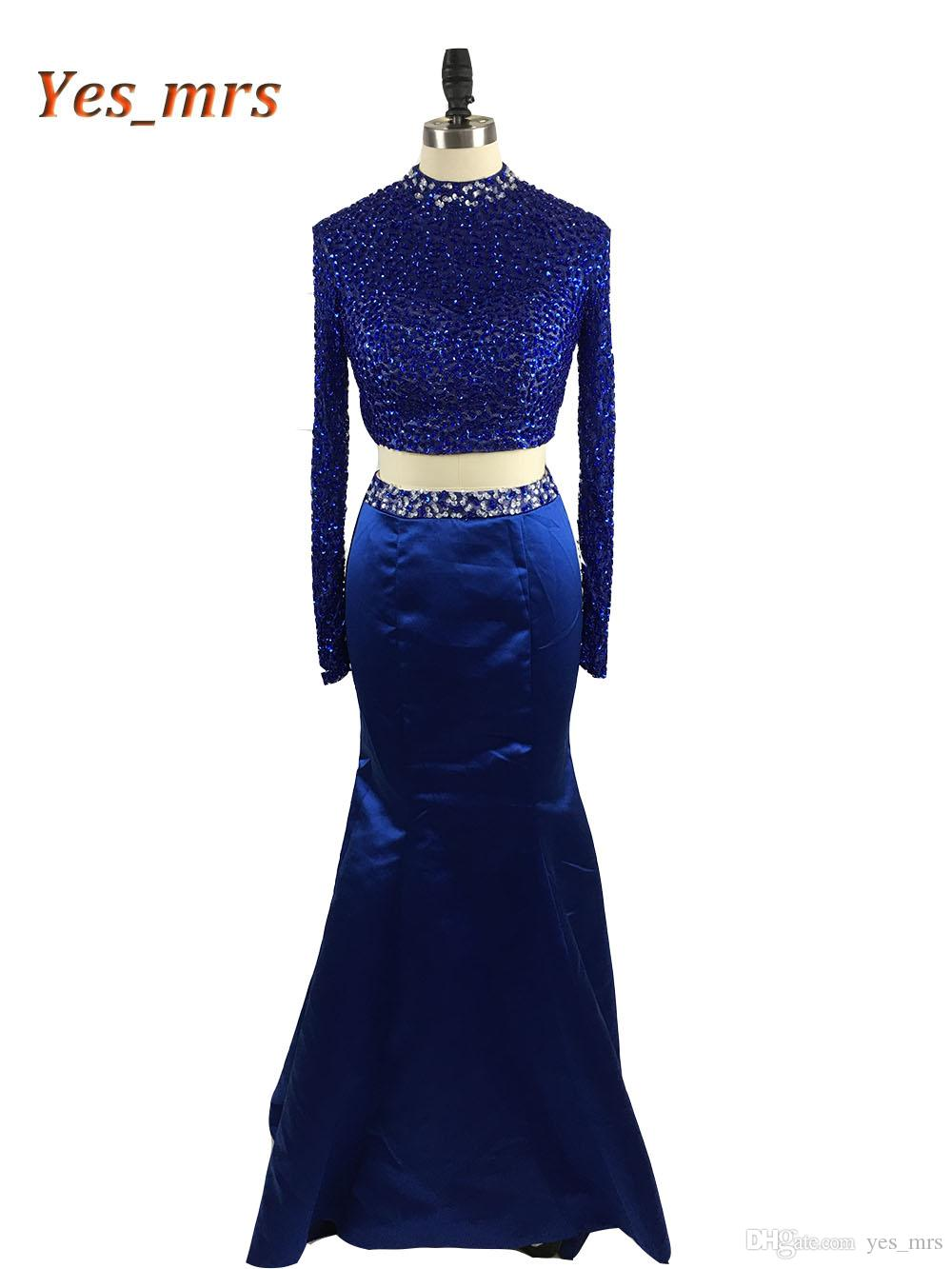 2017 New Two Pieces Prom Dresses High Collar Crystal Beaded Long Mermaid Open Back Royal Blue Formal Party Dress Evening Gowns