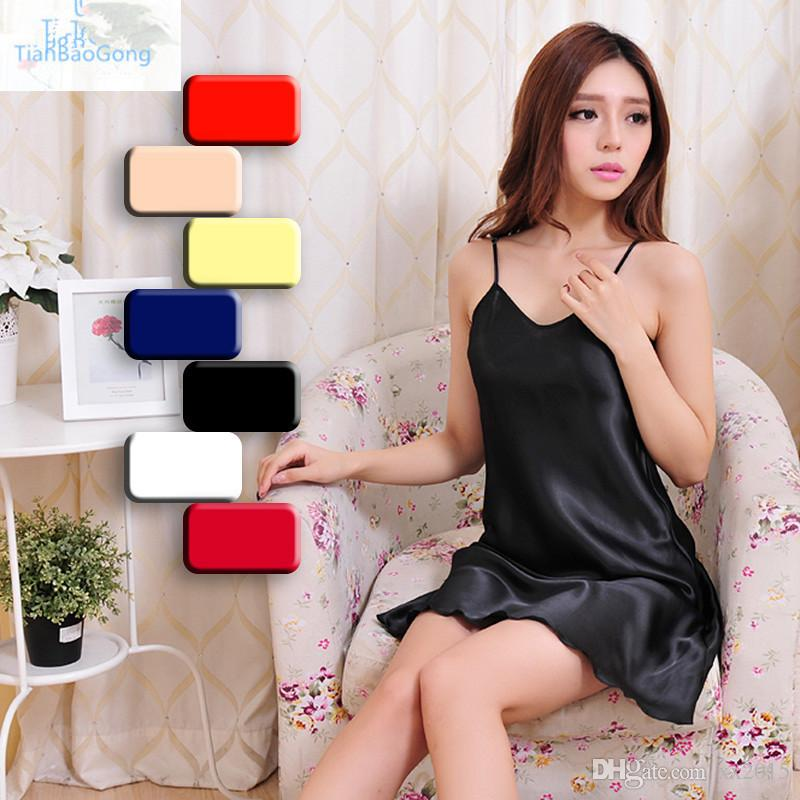 Wholesale-Details about Ladies Satin Lace Strappy Nightdress Nightie Nightgown Chemise Plus Size S-2XL
