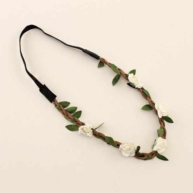 Cheap Artificial Flower Crowns Headbands Floral Hairbands Women Girls Hair Accessories Wedding Garland Beach Wreath On Sale