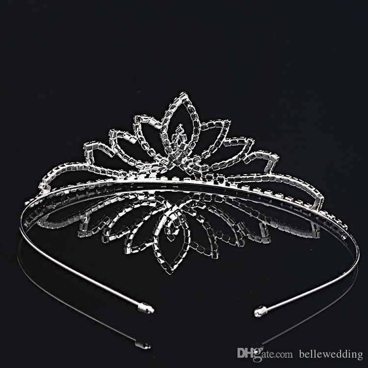 Bridal Tiaras Crowns With Rhinestones Bridal Jewelry Girls Tiaras Birthday Party Performance Pageant Crystal Wedding Accessories #BW-T020