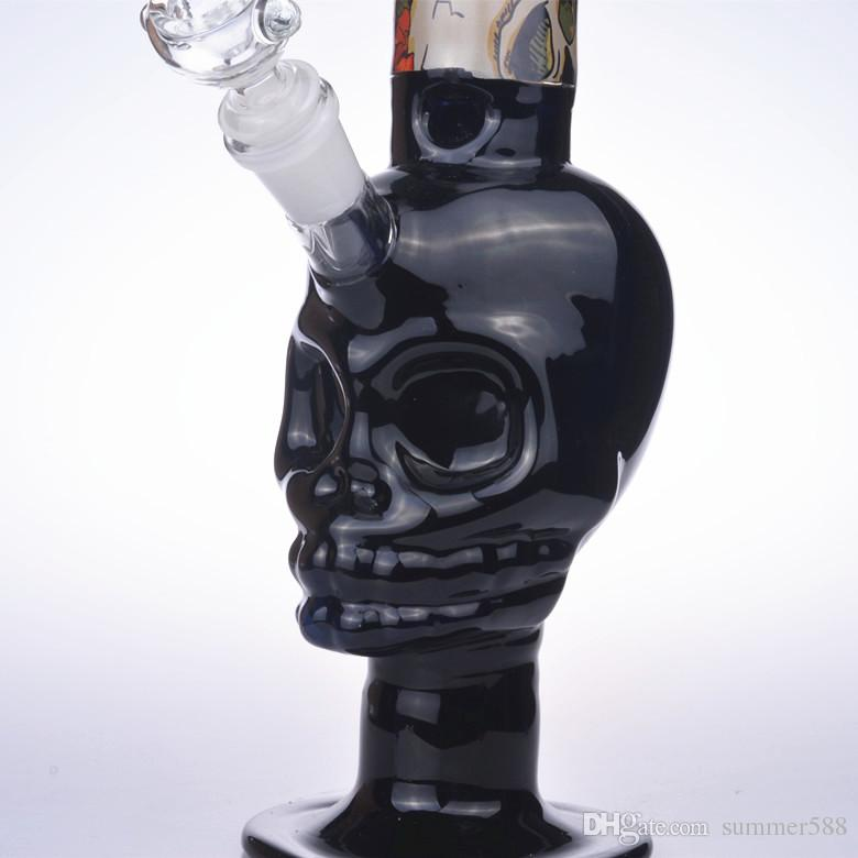 """15"""" tall skull colorful water bongs glass pipes 18mm recycler rigs oil dab bowl beaker downstem perc 14mm black blue green pink"""