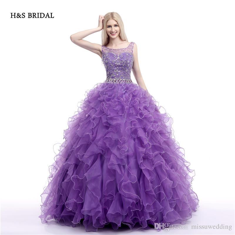 Compre Hs Bridal Purple Organza Luxury Sequins Vestidos De ...