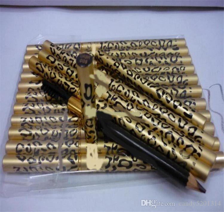 SıCAK YENI Profesyonel M makyaj Kaş Kalemi Fırça Siyah, Kahverengi Leopar kaş kalemi ücretsiz kargo L07