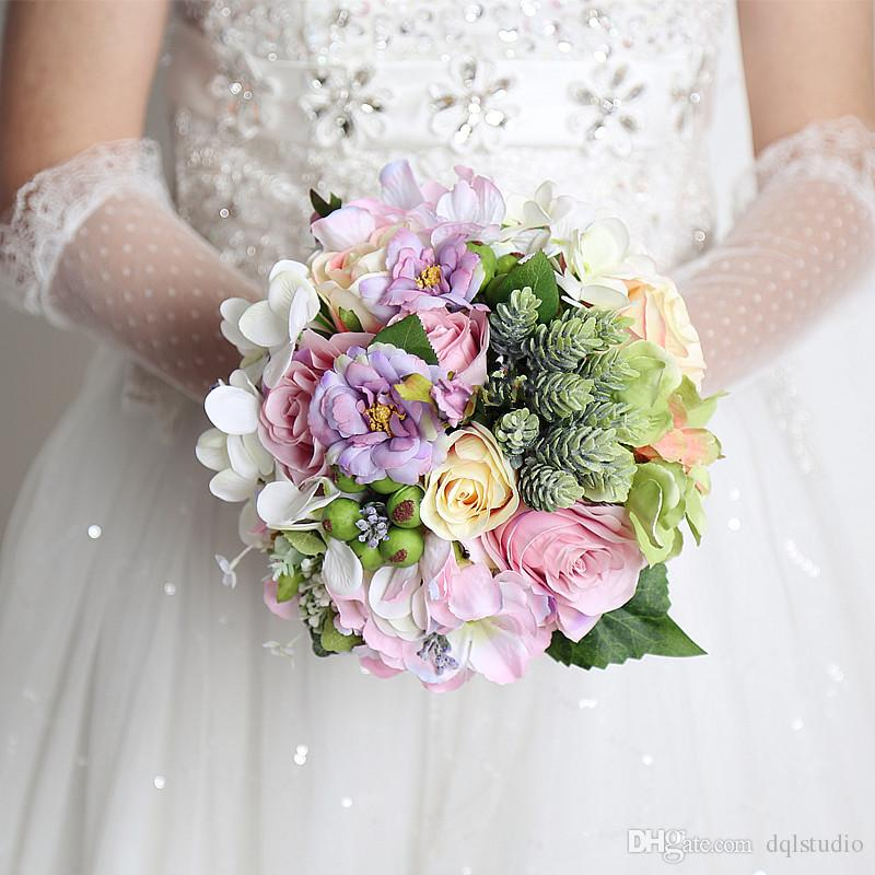 Colorful Bridal Bouquets Wedding Flowers High Quality Fairy Wedding ...