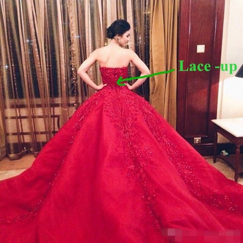 Vestido de novia de Michael Cinco de lujo vestido de novia rojo de encaje de calidad superior con cuentas cariño barrido tren vestido de boda gótico civil vestido de 2019