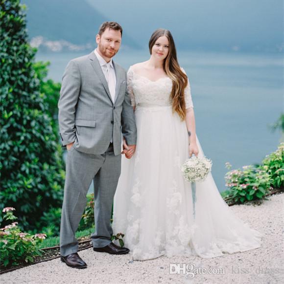Abiti da sposa in pizzo taglie forti Empire Sweep Train Off-the-spalla Tulle Mezza manica A-Line Abiti da sposa Vestido De Noiva Custom Made W1021