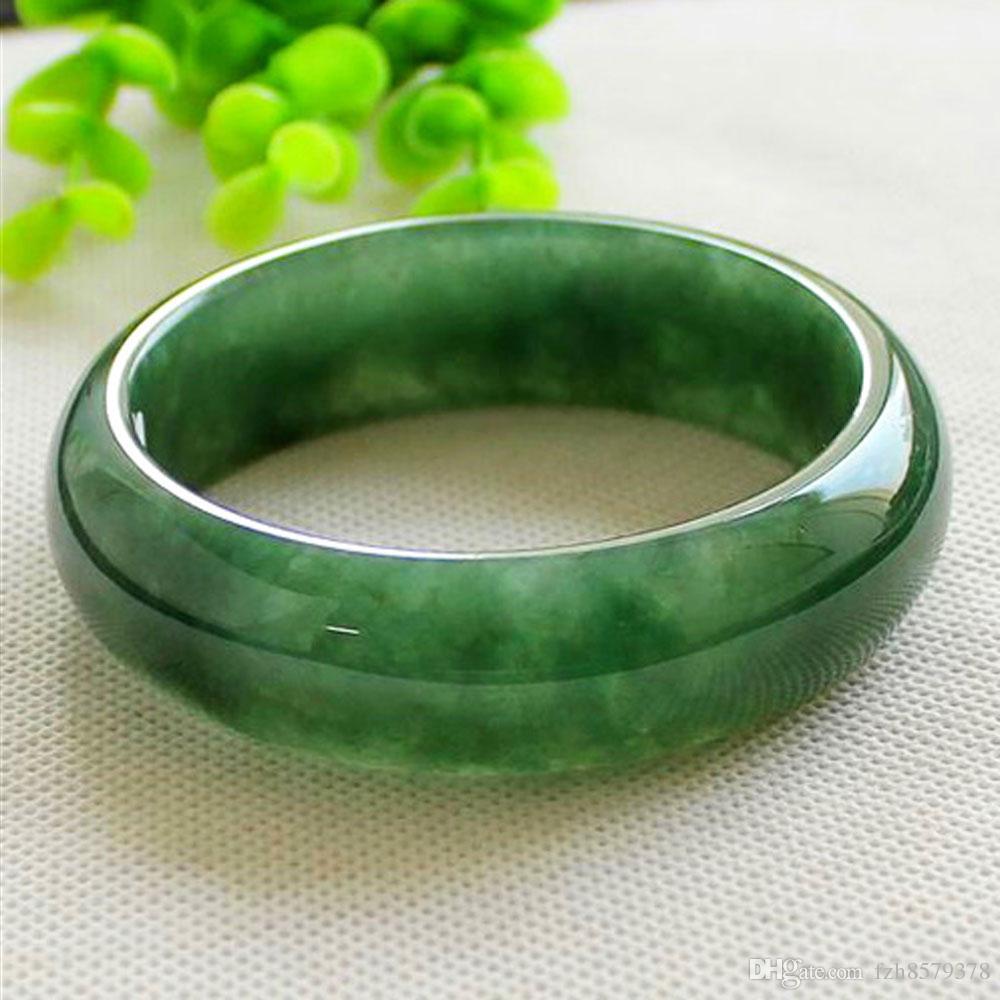 China tradicional Myanmar jadeite Pulseira Jade Pulseira de Gelo Tipo Waxy Verde escuro alargar Jóias para as mulheres