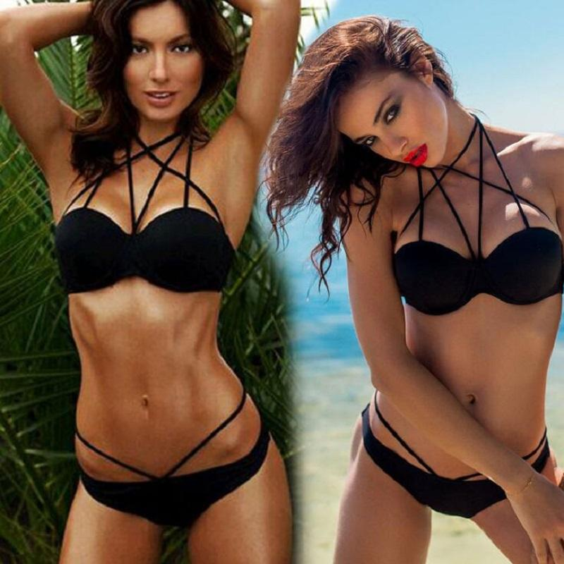 ab2989e5ab5 2017 New Black Two Pieces Swimsuit Brazilian Personality Style ...